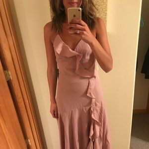 Lulu's Mauve Ruffled Maxi Dress